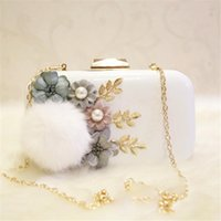Wholesale Hair Flower Women - Wholesale- 100% Handmade Fabric Flowers Evening Bag With Cute Hair ball Wedding Bride Hand Bag Women Party Bag Clutch Purses Wallet 12154