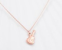 Wholesale Violin Chain - Fashion Titanium steel jewelry Rose gold plated violin pendant chain necklace woman charm clavicle necklace