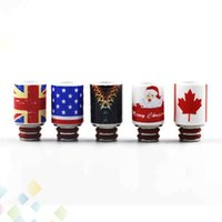 Wholesale Electronic Cigarette Christmas - Christmas Drip Tip Ceramic 510 Drip tips Fit 510 Atomizers Electronic Cigarette Stainess Steel +Ceramic Mouthpiece DHL Free