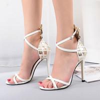 Wholesale Color Block Strap Heels - 2017 European fashion elegant color blocking strappy high heels sandals Free Shipping 170512B13