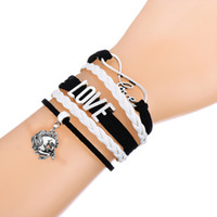 Wholesale Leather Cord Bracelets Sale - Hot Sale Infinity Love With Lucky Horses Bracelet Wax Cords Wrap Braided Leather Adjustable Bracelet Bangles-Drop Shipping