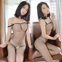 Wholesale Ladies Fishnet Panties - Fei Mu Lingerie Sexy open net transparent stockings lady Jumpsuit uniforms temptation Siamese fishnet stockings 7503