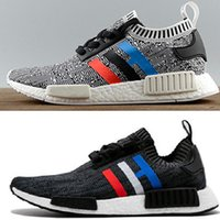 Wholesale Running Tri - Original quality NMD R1 Primeknit Tri-Color PK Red white blue black Men Women Running Shoes Classic nmd Ultra boost sports Shoes Sneakers