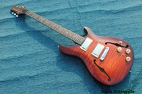 Wholesale Hollow Reed - Best High Quality Brown Flame Top Hollow Reed Electric Guitar Wholesale Guitars HOT