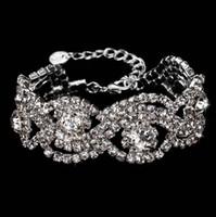 Wholesale Bling Wristlet - Bling Bling Bridal Wrist Corsage for Brides Bridesmaids 2017 Bridal Bracelets 17*2.8cm Rhinestones Bridal Wristlet In Stock