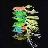 Wholesale Double Frog Hooks - 6-color 5.5cm 13.7g Ray frog Soft baits fishing hooks Silicone lures Double hook Artificial Pesca Tackle Accessories