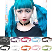 Wholesale Current Short - Fashion Punk Choker Necklace Current Street Collar Bone Chain With A Metal Circle Fashion Short Necklace Women's Jewerly aa195