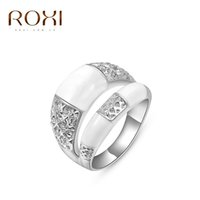 Wholesale White Gold Ring Insert - ROXI Ring For Women Top Exquisite Rings Platinum Rose Gold Plated Fashion Environmental Micro-Inserted Jewelry Christmas Gift