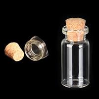 Wholesale Glass Crafts Vase - Wholesale- 5pcs Glass Vial Bottles With Cork Crafts Jewellery Mini Bottle Small Vase 10ml