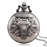Wholesale Vintage Bolso - Wholesale-Top Game Theme The Witcher 3 Wild Hunt Vintage Pocket watch Men Chain Boy Pendant Gift 2016 Popular Relogio De Bolso