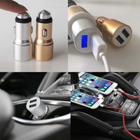 Wholesale Dock Interface - Aluminum Alloy Intelligent Dual USB Interface Car Fast Charger Safety Hammer for iPhone 5 6 7 Plus Samsung S7 S8