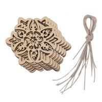 Wholesale Hanging Wood Carvings - Wholesale-10 Carved Wood Snowflake Christmas Tree Hanging Ornament Tag Xmas Room Decor