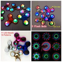 Wholesale Wholesale Switches - Fidget Spinner Camo LED Chrome Hand Spinner 11 LED Beads 18 Patterns Metal Color Fidget Spinners with Switch Buy 50 Get 55, Buy 100 Get 110