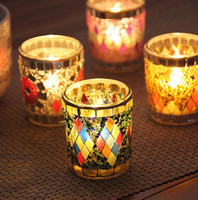 Wholesale Cylinder Candle Holders Wholesale - Glass Mosaic Candle Holders Wedding Halloween Decoration Christmas Party Decorations Gift Handmade Multicoloured Votive Centrepiece Candle H