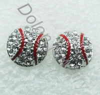 Wholesale Diy Ball Earrings - 20 pairs hot sale drop shipping Dime Size Baseball Earring Stud Base Ball Fans Sports Jewelry 2014 World Cup diy handmade jewelry