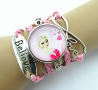 Atacado-1 Pcs Vintage Rainha Rainha de vidro Antique Charms Cartoon Princesa Braid Leather Bracelet Wristbands Crianças Festa Gift Supply 7 Estilo