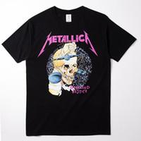 Wholesale Iron Man Guns - Wholesale- 2017 Metal Rock Band Skeleton metallica Printed Short Sleeve T Shirt Grateful Dead Guns N Roses iron maiden Bibb