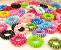 Wholesale dhl telephone for sale - Group buy Plastic Hair Band Telephone Cord Phone Strap Hair Band Rope for Women Girls Accessories Hair Accessory Ponytail Holder DHL