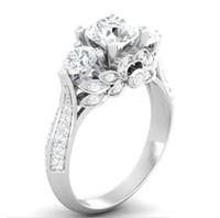 ingrosso gioielli gia-US GIA certificato SONA diamante 100% solido anello in argento gioielli 2ct anelli di fidanzamento per le donne 925 anello in argento sterling