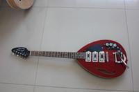 rote hohle körpergitarren großhandel-Super Rare Kurze Skala Hutchins Brian Jones Vox Teardrop Unterschrift Weinrot Semi Hollow Body E-gitarre Bigs Brücke 3 Pickups