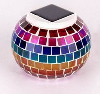 outdoor solar table lamps - Solar Powered Mosaic Glass Ball LED Garden Lights Color Changing Solar Table Lamps Waterproof Solar Outdoor Lights for Christmas MYY