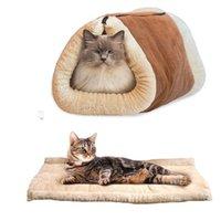 Wholesale Dog Sleeping - 1pcs Cute Cat Sleeping Bag Foldable Warm Dog Cat Bed Pet Dog House Zipper Design Soft Pet Cat Mat Cushion Pet Products