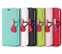 Wholesale Case For Iphon - Cute Heart Cherry Shape Button Pu Wallet Flip Leather Case Pouch With Card Slot For Iphon 6 6s plus 7 7 plus samsung S6 S7 S7 edge