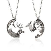 Wholesale Vintage Elk - 2Pcs Set Trendy Vintage Hollow Elk Necklace Animal Wapiti Moose Puzzle Coin Pendants Necklace For Best Friends BFF Couples Jewelry