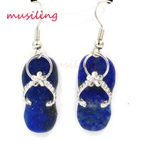 Wholesale Blue Copper Turquoise Earrings - Natural Stone Drop Earrings Slippers Gem Stone Earring Lapis Lazuli Blue Turquoise etc Accessories Fashion Jewelry For Women
