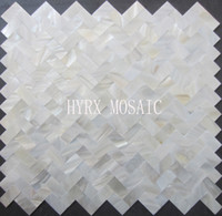 Wholesale Pearl Tile Backsplash - Herringbone Supper White square shell mosaic tile groutless mother of pearl kitchen backsplash shower luster bathroom tiles