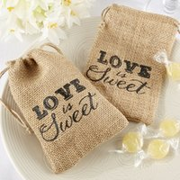 "Wholesale Wholesale Printed Organza Gift Bags - ""Love Is Sweet"" Printed Burlap Bags Wedding Return Favor Gifts Wedding Burlap Favor Bags For Party 50pcs"