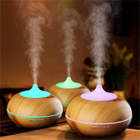 Wholesale Home Oxygen Bars - New 300ml Aroma Essential Oil Diffuser Wood Grain Ultrasonic Cool Mist Humidifier for Office Home Bedroom Living Room Yoga Spa Water Cap