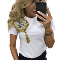 футболка с зеркалом оптовых-Wholesale- 2017 Sequin Mirror Printed T-shirt For Women Summer Short Sleeve T-Shirts Harajuku Female T-shirt Casual Tops Tees Streetwear
