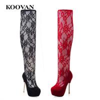 Wholesale stretch leopard boots - Dancer Shoes Over Knee Boots 13 Cm High Heel Boots Lace Net Fashion Perform Shoes 2017 Koovan Autumn High Waterproof Platform W186