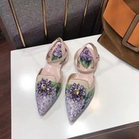Wholesale Elegent Shoes - fashion women 2017 autumn winter style genuine leather flats shoes, women elegent crystal flower print flats shoes, best quality women flats