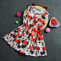 Wholesale Dress Denim Minnie - Baby girls minnie dress cartoon dress TUTU dress Girls Minnie Bow Dress children mickey clothes dress