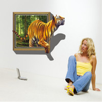 Wholesale Tiger Removable Wall Decorations - 3D large Tiger wall stickers living room bedroom kids' room removable pvc home decorations art decals murals