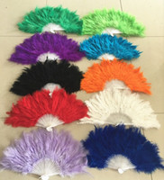 Wholesale Decoration Fan Party - Free shipping 100pcs lot wedding colors feather folding hand fans dance fan wholesale
