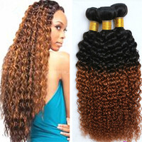 8A ombre Mongolian 3 Bundles Virgin Hair Wefts # 1b 30 ombre Kinky Curly Hair Weaves Unprocessed Remy Расширения человеческих волос Free Shippin