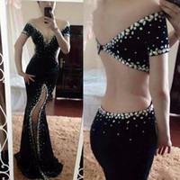 Wholesale shoulder cut for sale - Sexy Black Velvet Mermaid Prom Dresses Off The Shoulder Crystals Dubai Cut Side Split Formal Evening Pageant Gowns Formal Party Vestido