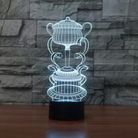 renk değiştiren ruh hali aydınlatması toptan satış-Ücretsiz Kargo Yaratıcı 3D Trophy Kupası LED Gece Işık 7 renk değiştirme Için Dokunmatik Mood Lambası Dekor Işık Bar Doğum Günü hediye