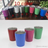 Wholesale Double Wall Color - 9oz Vacuum Insulated Double Wall Stainless Steel Lowball Wine Tumbler 9 oz with lid with straw 9oz kid mug cup
