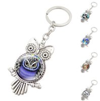 Wholesale Owl Key Pendant - New Retro Owl Key Rings Glass Cabochon Pendant Keychains Fashion Metal Key Ring Christmas Gift Free Shipping