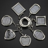 moldura de moda venda por atacado-Moda Chaveiros com Medalhão Photo Frame-6 Forma, Inserir Photo Picture Frame Porta-chaves Keychain Porta-chaves