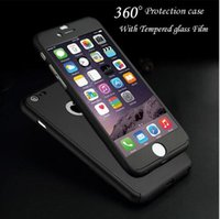 Wholesale Iphone Cases Luxury Logo - 360 Degree Full Body Protection Cover Show Logo Phone Cases For iPhone 5 5s SE 6 6s 7 Plus Luxury Armor Case Free Tempered Glass