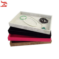 Wholesale Retail Necklace Display - Retail High Quality Velvet Jewelry Display Cases Four Colors Necklace Bangle Bracelet Storage Organizer Flat Tray 35*24*3cm