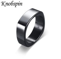 Wholesale Rock Bands Jewelry - 2017 New arrival Punk Rock Stainless Steel Mens Biker Rings simple Jewelry fashion black Color Ring Men US Size 9-12