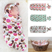 Wholesale Gilrs Clothing - Baby Clothes Gilrs Boys 2PCS Baby Sleeping Bags + Hair Band 2017 Printed Newborn Infant Wrap Kids Clothing XY111