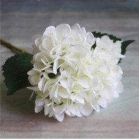 Wholesale Artificial Silk Flower Heads - Artificial Hydrangea Flower Head 47cm Fake Silk Single Real Touch Hydrangeas 8 Colors for Wedding Centerpieces Home Party Decorative Flowers