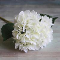 ev için dekoratif çiçekler toptan satış-Yapay Ortanca Çiçek Baş 47 cm Sahte Ipek Tek Gerçek Dokunmatik Ortancaları Düğün Centerpieces için 8 Renkler Ev Partisi Dekoratif Çiçekler